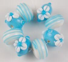 Opaque Aqua White Daisy Swirls Lampwork Glass Beads Handmade Loose Rondelle