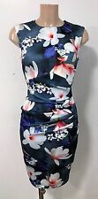 Grey White Floral Ruch Front Wiggle Pencil Smart Office Party Dress Size 10