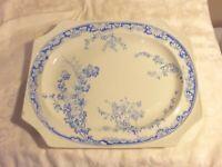 Vintage George Jones & Sons Chatsworth Blue & White Oval Platter