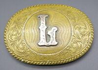 L Initial Letter Crumrine Western Scroll Vintage Belt Buckle