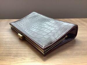 WW2 40s Vintage Style Dark Brown Faux Crocodile Clutch Bag .