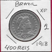 BRAZIL REP 400 REIS 1918 VF LIBERTY BUST RIGHT,,DENOMINATION WITHIN CIRCLE,DATE