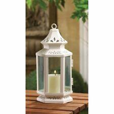 "4 Candle Lantern White Victorian Design w/ Floral Cutouts Small 8"" High"