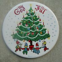 BERGGREN TILE TRIVET Swedish God Jul 1960's Scandinavian Folk Art