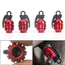 4X Grenade Design Aluminum Bike Car Motorcycle Tyre Air Valve Dust Caps Red