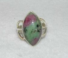 Ruby Zoisite Long Marquise Ring Sterling Silver Size 9.5