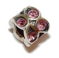 "Pre-Owned Genuine CHAMILIA Silver & Pink Gem Set ""Paisley Rose"" Bead"