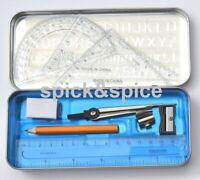 10 Pcs School Stationary Math Set Kids Ruler HB Pencils in a Tin Geometry  Box