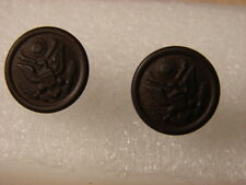 Original WW1 US Army Visor Hat Bronze Eagle Buttons - Pair MINT NOS