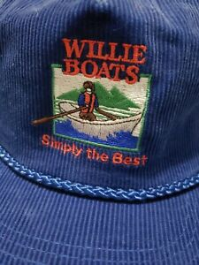 Vintage Willie Boats Corduroy Snapback Hat Ball Cap Simply the Best One Size