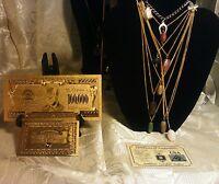<>US SELLER~ 8Pc.GENUINE GEMSTONE Necklaces+GOLD$100K+CHARM Bracelet+SILVER Bar>