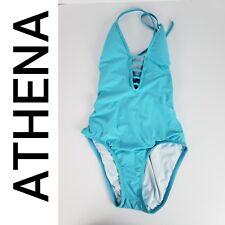 Athena Women's One Piece Bathing Suit Lace Up Low Cut Back V Neck Sz 8 Blue NEW