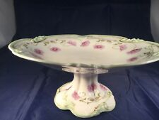 BERNARDAUD LIMOGES PRETTY FLORAL VINTAGE FOOTED CAKE STAND / TAZA POPPIES