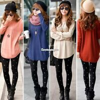 Women Knitted Pullover Jumper Round Neck Long Sleeve Loose Sweater Knitwear Top