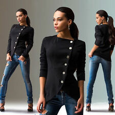 Women's Ladies Fashion Casual Slim Fit Buttons Jacket Tops Spring Autumn Coat