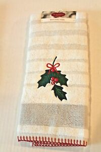 St Nicholas Square Holly Embroidered Holiday Christmas Bath Hand Towel