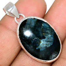 Larvikite Stone - Black Moonstone - Norway 925 Silver Pendant Jewelry AP163935