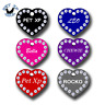 Rhinestone Pet ID Tag Heart Double Side Engraved Personalized Dog Cat Name Tag