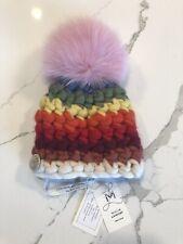 Misha Lambert Striped Childrens Beanie XS Rainbow+Pink Merino Wool Fox Fur Pom