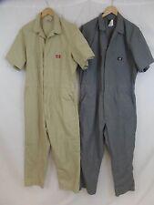 Lot of 2 Dickies Men's 44x28 Grey + Khaki Short Sleeve Work Coverall