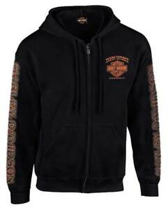 Harley-Davidson Men's Eagle Piston Long Sleeve Full-Zip Hoodie, Black 30299950