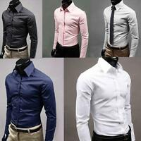 Men's Luxury Formal Shirt Long Sleeve Slim Fit Business Dress Shirts Top Proper