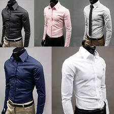 Men's Luxury Formal Shirt Long Sleeve Slim Fit Business Dress Shirts Top Proper