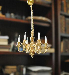Dollhouse Miniature 6 Arm Brass Chandelier - 12v Light Hand Made