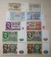 Russia USSR 1961-1991 set of rubles, 10 HIGH GRADE banknotes.