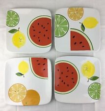 """4 Watermelon & Citrus 8.5"""" Square Lunch Plates R Pickens Certified International"""