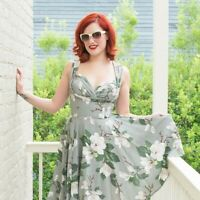 Trashy Diva Green and White Steel Magnolias Print Honey Sun Dress Size 0