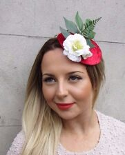Red Green White Velvet Rose Flower Leaf Fascinator Headpiece Hair Clip Vtg 2728