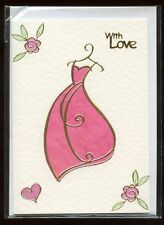 A generic Handmade greetings card WITH LOVE BNIP Pretty 'dress' design
