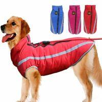 Warm Reflective Safe Medium Large Dog Waterproof Coat + Leash Jackets Clothes