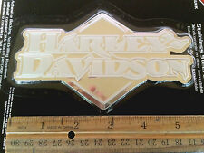 Harley-Davidson white logo on *STAINLESS STEEL diamond* Extra Thick Sticker