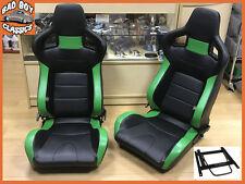 Pair BB6 Reclining Bucket Sports Seats Black / Green Fits LANDROVER DEFENDER
