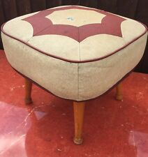 Vintage Retro Square Leatherette Vinyl Cream And Red Tele-Pouffe Foot Stool