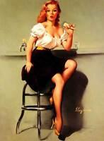 "Vintage GIL ELVGREN Pinup Girl CANVAS ART PRINT Poster Icecream fail 16""X 12"""
