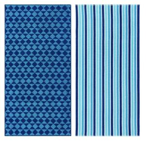 """Mainstays Blue Beach Towels 2 Pack 30""""x60"""" New"""