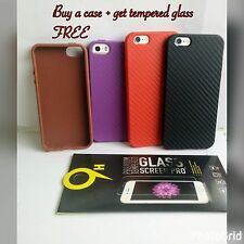soft fiber carbon fiber skin Phone Cases Iphone5/5s + Free Tempered Glass