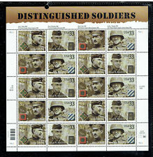 US 3996a (3393-96), 2000 33c SOLDIERS, $6.60 PANE OF 20, BELOW FACE, MNH (US162)