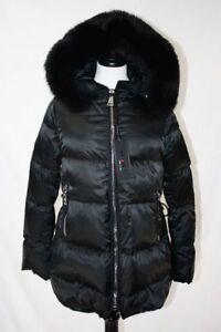 NWT Flo Clo Italian Womens Puffer Giacca Mila Coat Fox Fur Hood, Black, Small 40