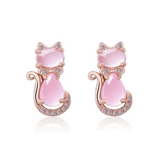 Rose Gold on Sterling Silver Pink Opal Stone Cat Bow Stud Post Earrings Gift A3