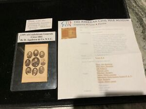 RARE ESTATE 9 CIVIL WAR CONFEDERATE GENERALS ORIGINAL 1861 CDV PHOTO APPLETON