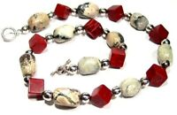 Jasper Red Coral Sterling Silver Necklace New