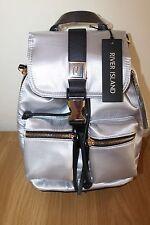 BNWT River Island silver satin mini backpack, bag