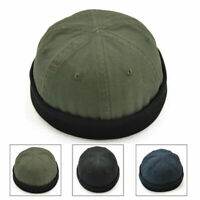 Retro Mens Hat Skull Cap Cotton Rolled Cuff Brimless Adjustable Painter Sailor