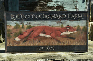 "Antique Look Repro of Original Art - Sign ""Loudon Orchard Farm"" Fox Hunt"