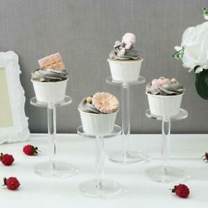 Clear Round Acrylic Pedestal Jewelry Watch Cupcake Display Riser Stands,Set of 4