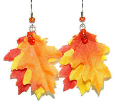COLORFUL FALL LEAVES DANGLE EARRINGS (H073)